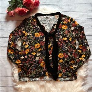 Zara Trafaluc Floral Velvet Tie Front Blouse